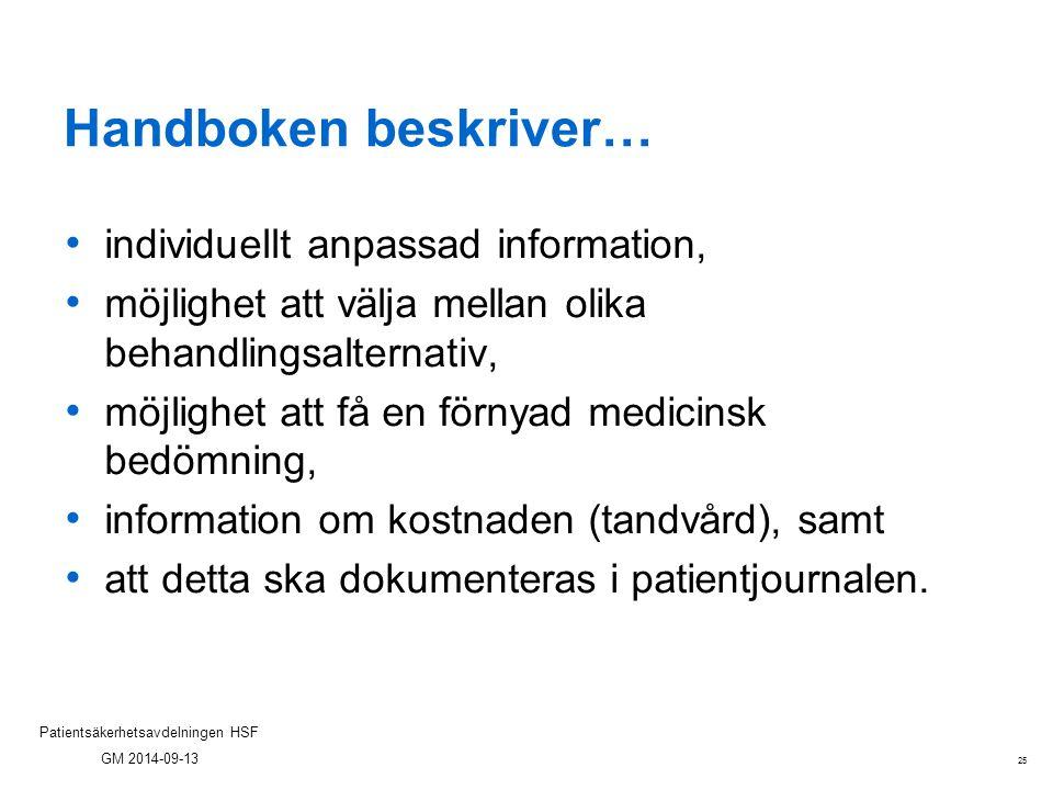 Handboken beskriver… individuellt anpassad information,