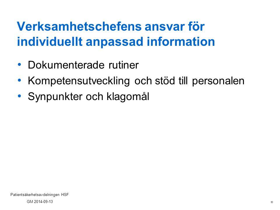 Verksamhetschefens ansvar för individuellt anpassad information