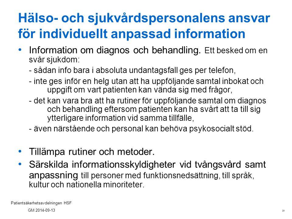 Hälso- och sjukvårdspersonalens ansvar för individuellt anpassad information