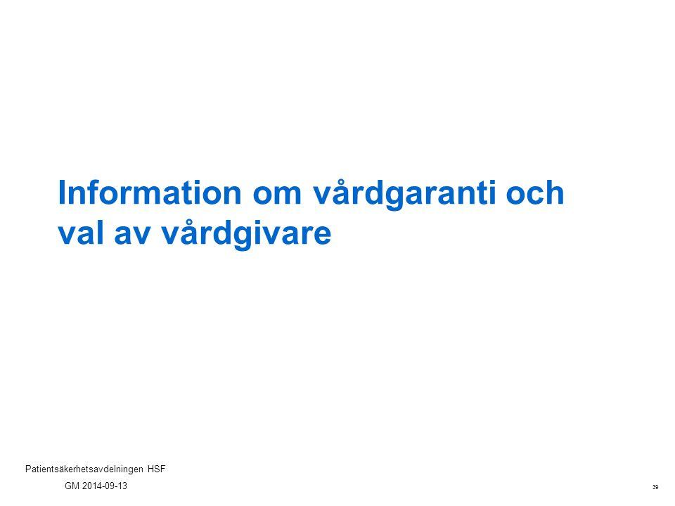 Information om vårdgaranti och val av vårdgivare