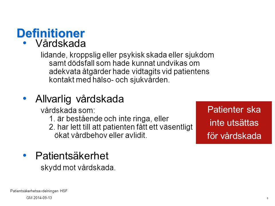 Patienter ska inte utsättas för vårdskada