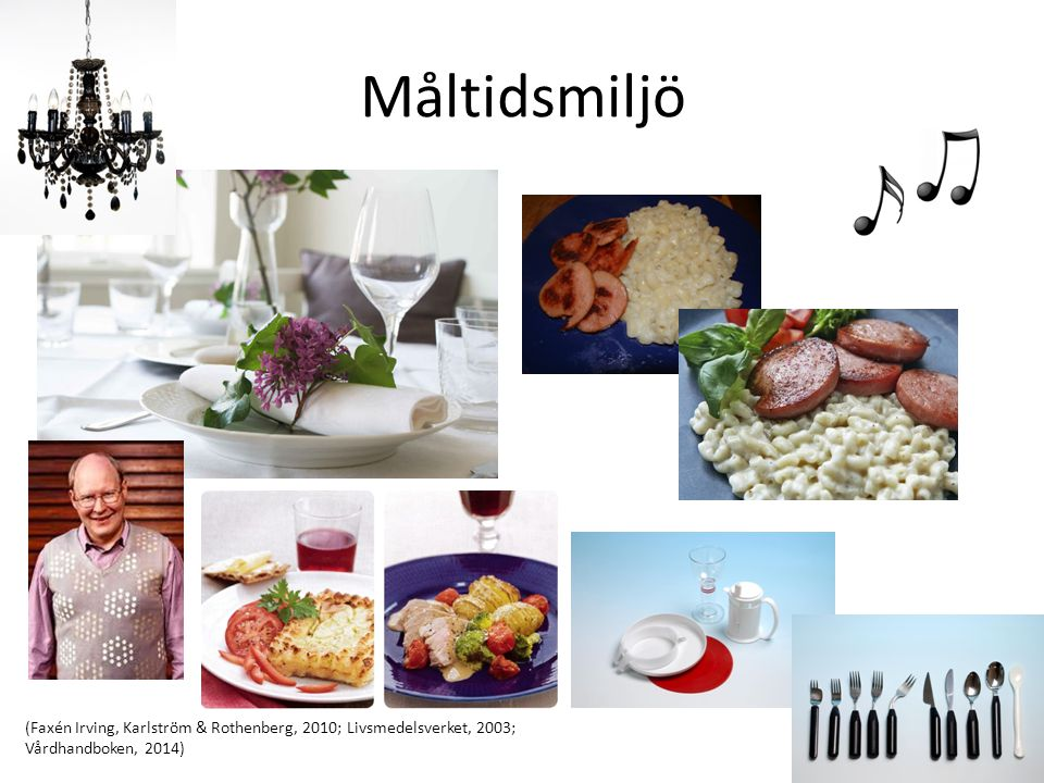 Måltidsmiljö (Faxén Irving, Karlström & Rothenberg, 2010; Livsmedelsverket, 2003; Vårdhandboken, 2014)