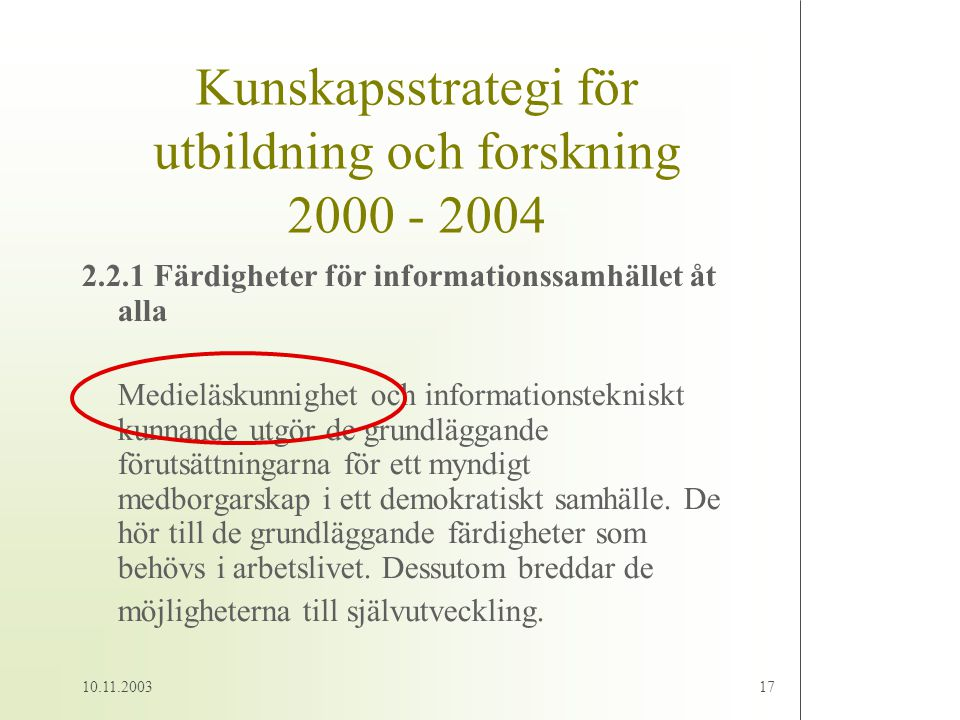 Kunskapsstrategi för utbildning och forskning 2000 - 2004