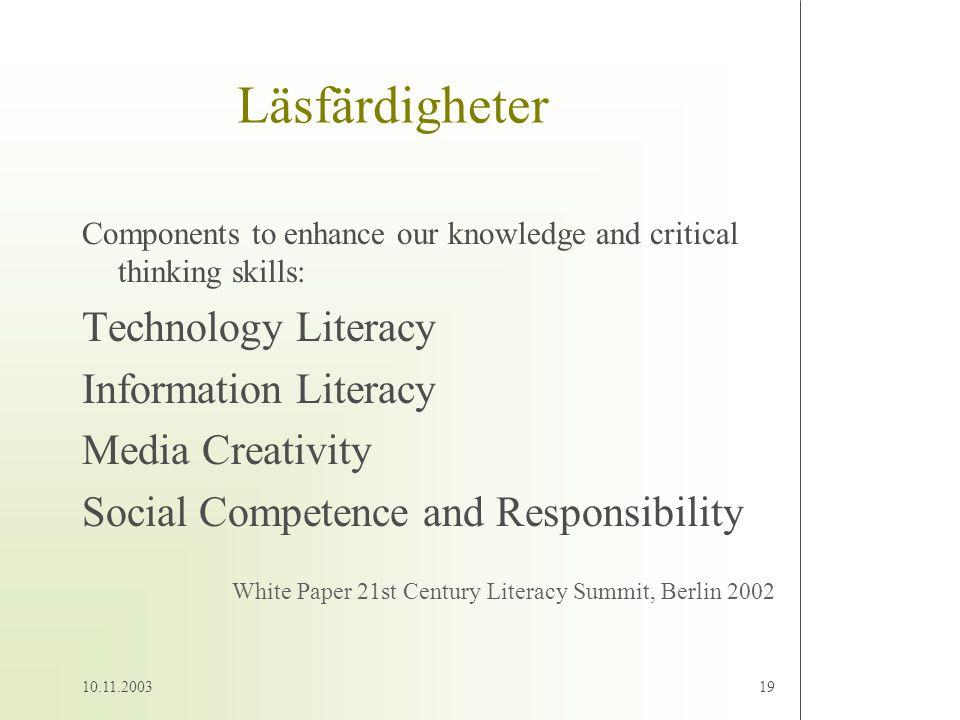 Läsfärdigheter Technology Literacy Information Literacy