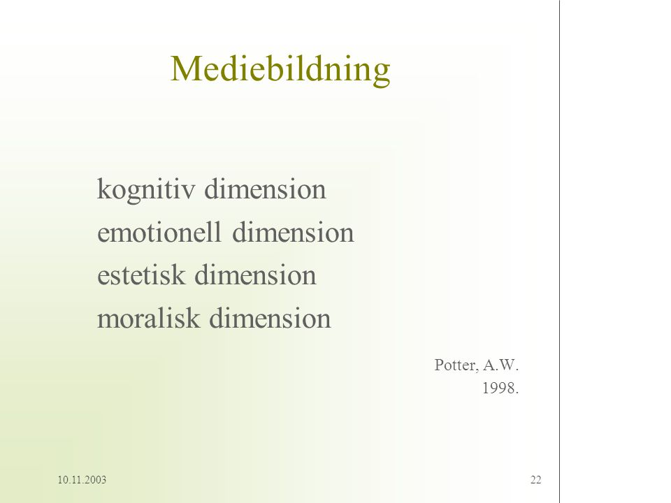 Mediebildning kognitiv dimension emotionell dimension