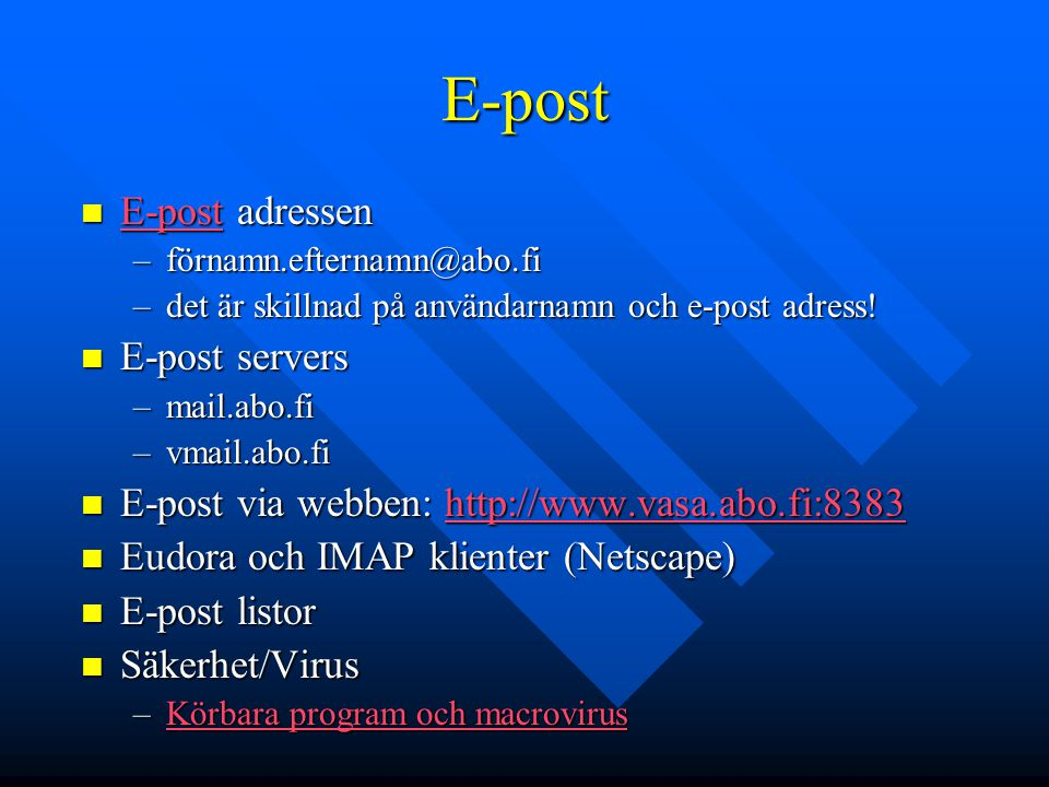 E-post E-post adressen E-post servers