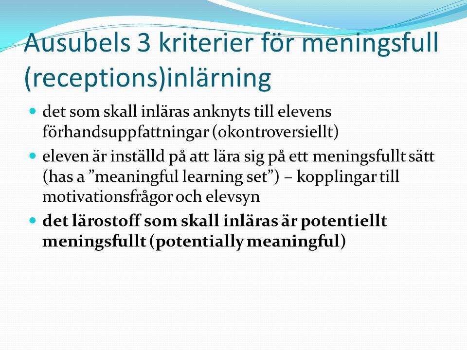 Ausubels 3 kriterier för meningsfull (receptions)inlärning