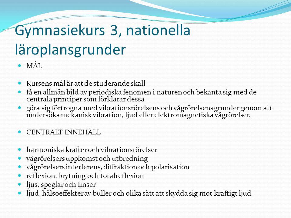 Gymnasiekurs 3, nationella läroplansgrunder