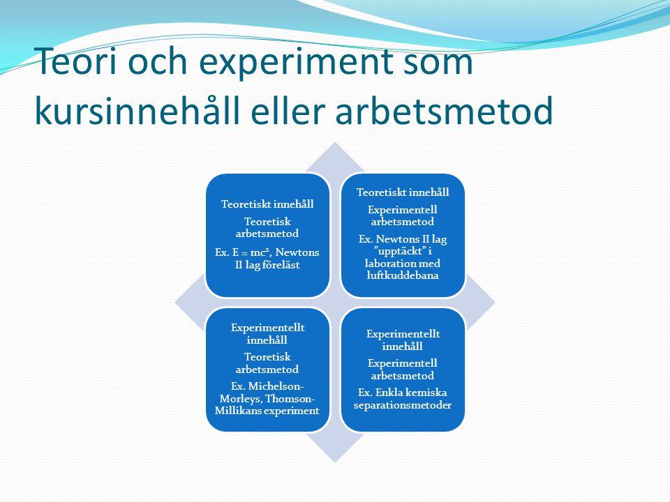 Teori och experiment som kursinnehåll eller arbetsmetod