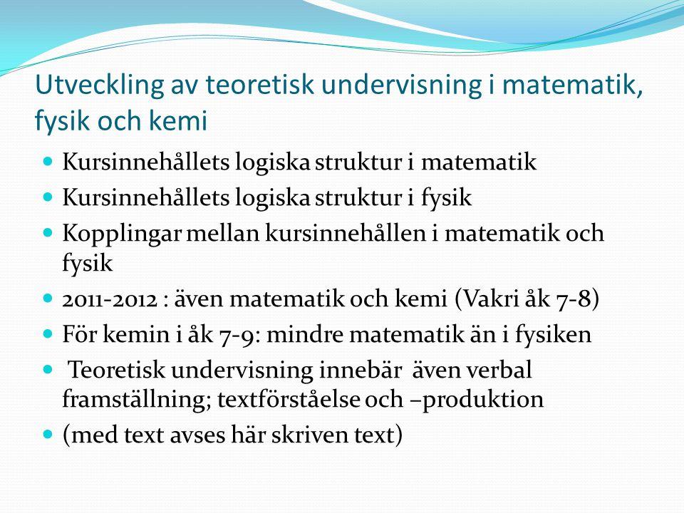 Utveckling av teoretisk undervisning i matematik, fysik och kemi