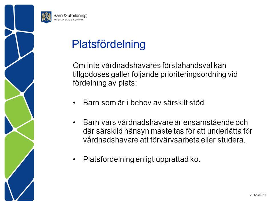 Platsfördelning Om inte vårdnadshavares förstahandsval kan tillgodoses gäller följande prioriteringsordning vid fördelning av plats: