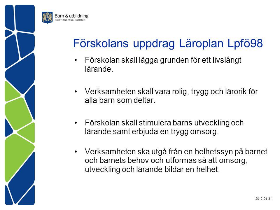 Förskolans uppdrag Läroplan Lpfö98