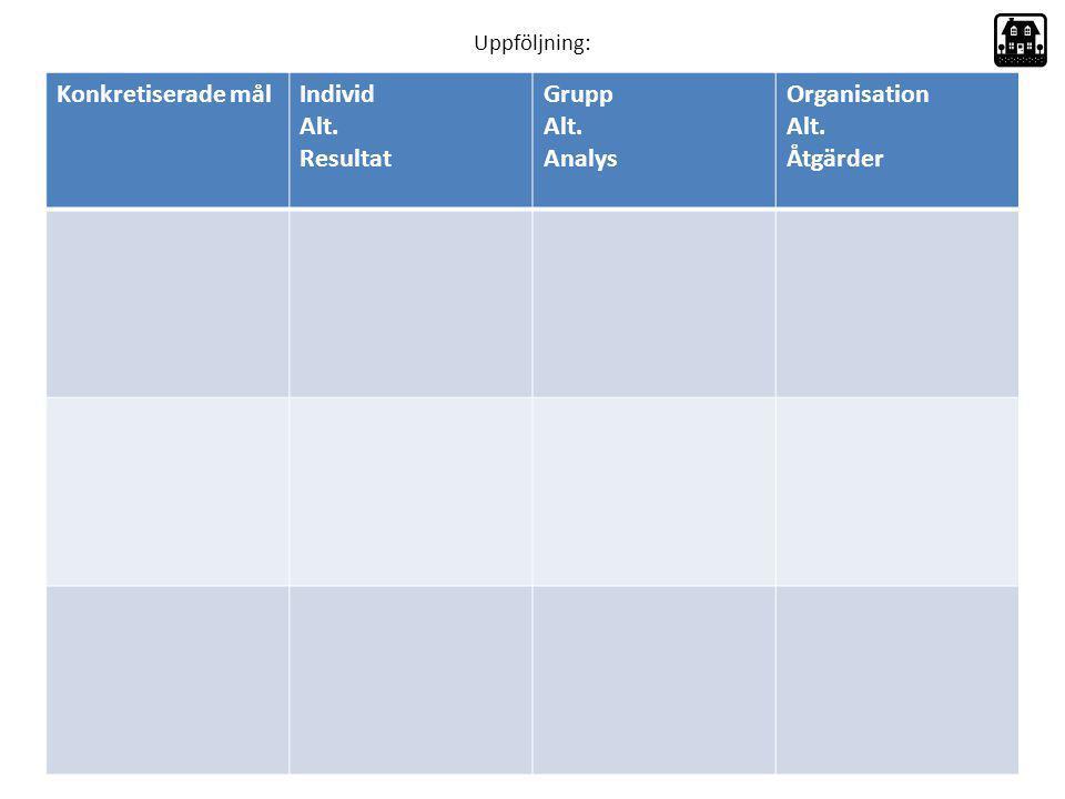 Konkretiserade mål Individ Alt. Resultat Grupp Analys Organisation