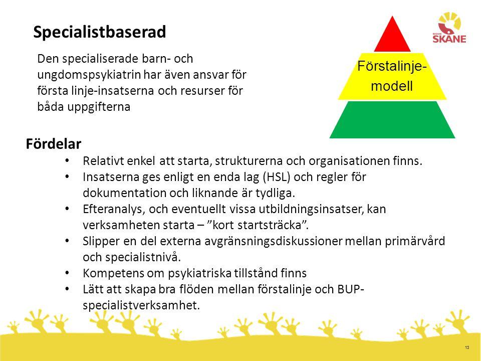 Specialistbaserad Fördelar Förstalinje- modell