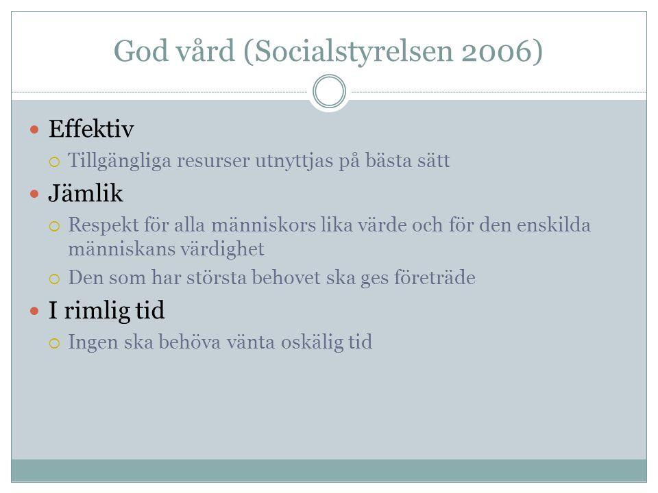 God vård (Socialstyrelsen 2006)