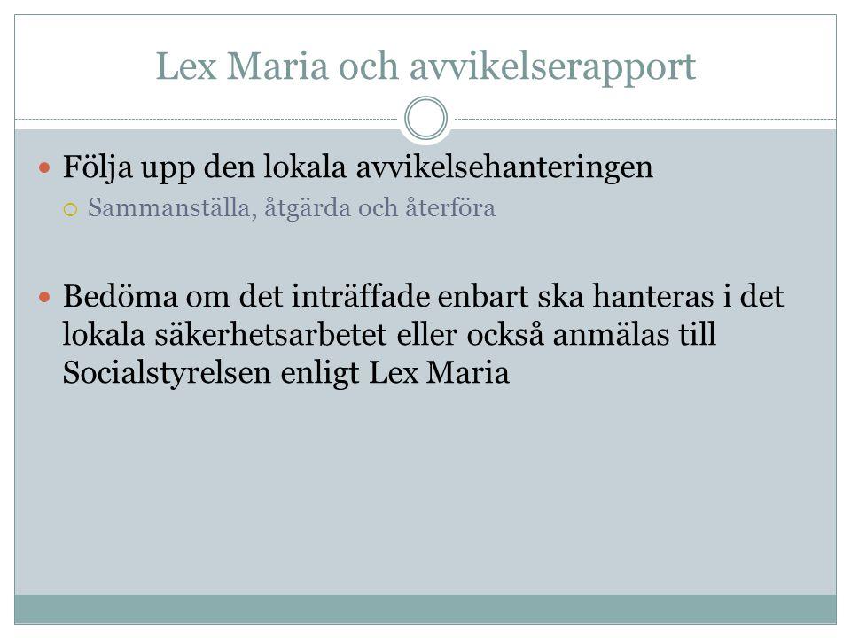 Lex Maria och avvikelserapport
