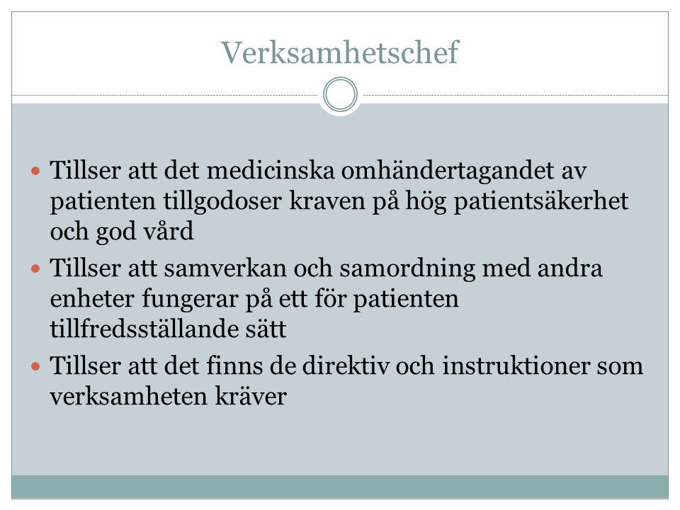 Verksamhetschef Tillser att det medicinska omhändertagandet av patienten tillgodoser kraven på hög patientsäkerhet och god vård.