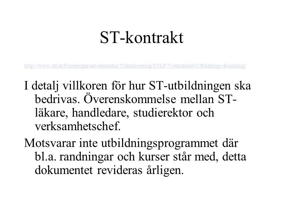 ST-kontrakt http://www.slf.se/Foreningarnas-startsidor/Yrkesforening/SYLF/Verksamhet/Utbildning--forskning/