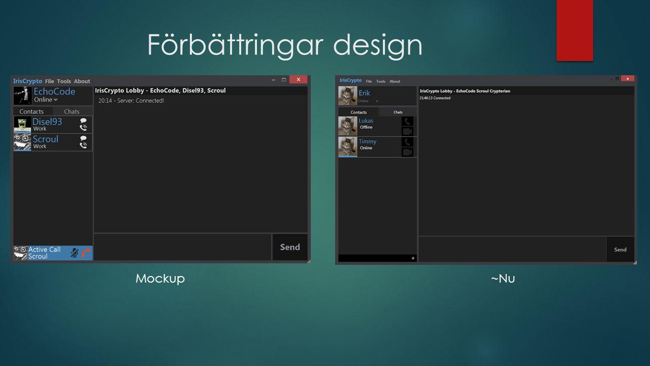 Förbättringar design Mockup ~Nu