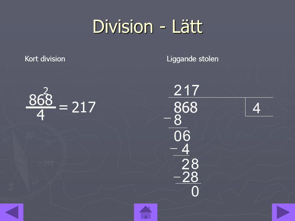 Division - Lätt 2 1 7 4 868 = 2 1 7 4 868 8 6 4 2 8 28 2 Kort division