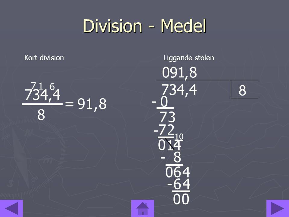 Division - Medel Kort division. Liggande stolen. 9. 1. , 8. 7. 1. 6. 8. 734,4. 734,4. -