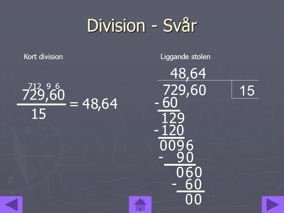 Division - Svår Kort division. Liggande stolen. 4. 8. , 6. 4. 7. 12. 9. 6. 15. 729,6. 729,6.