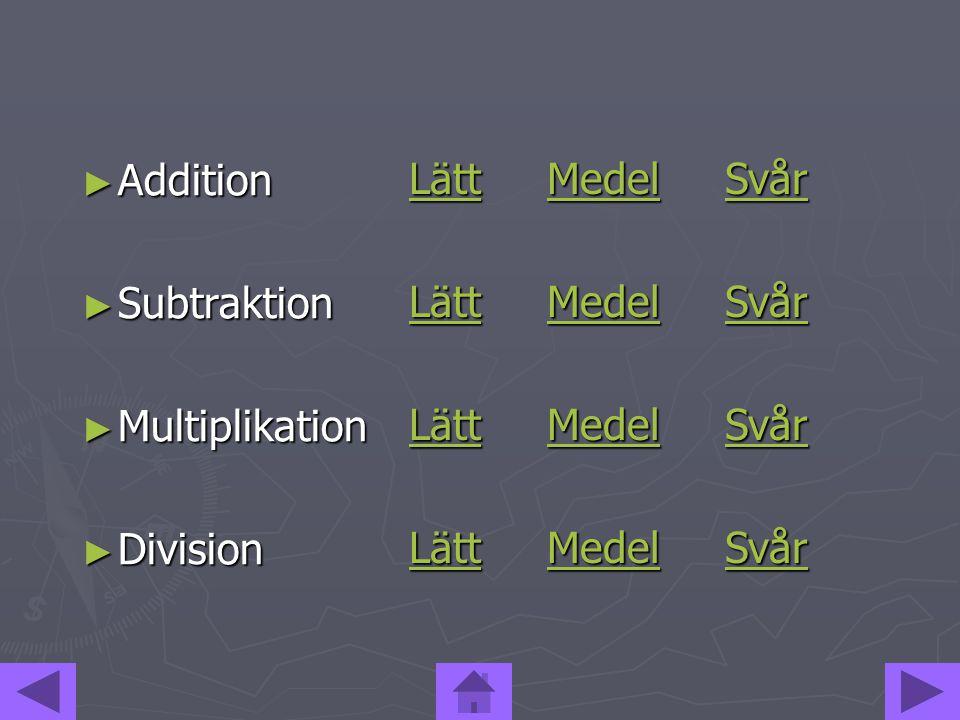 Addition Subtraktion Multiplikation Division Lätt Medel Svår