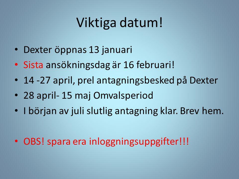 Viktiga datum! Dexter öppnas 13 januari
