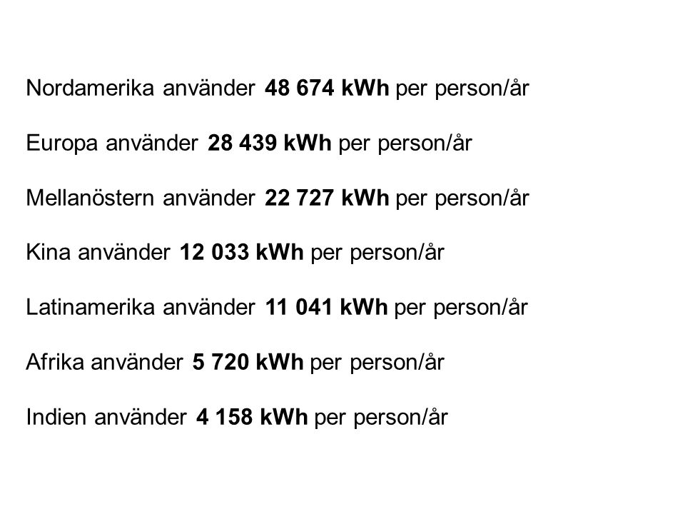 Nordamerika använder 48 674 kWh per person/år
