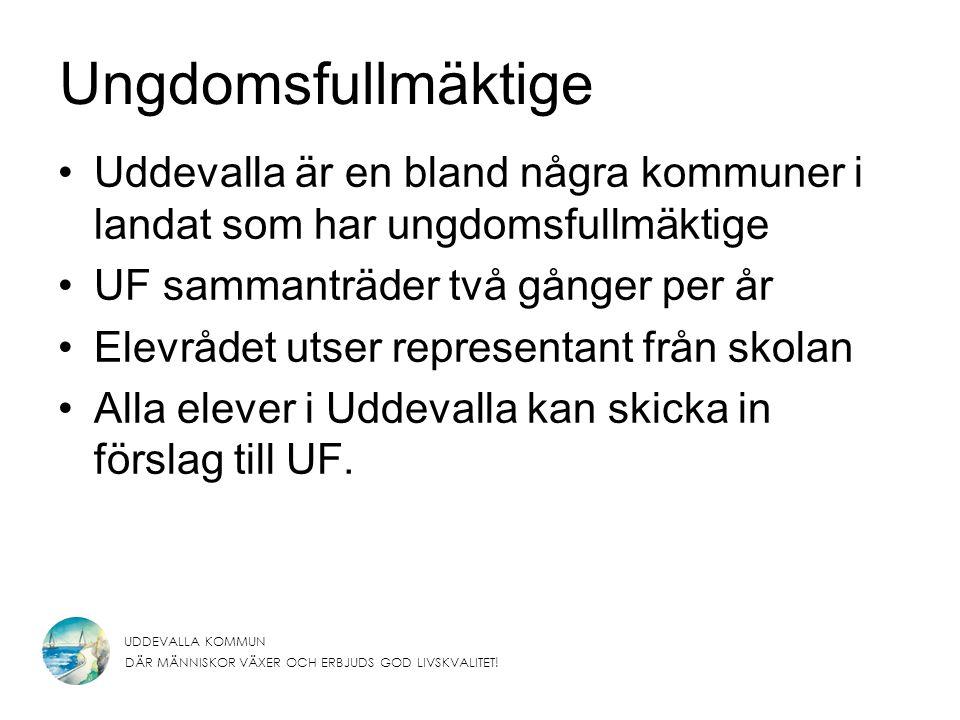 Ungdomsfullmäktige Uddevalla är en bland några kommuner i landat som har ungdomsfullmäktige. UF sammanträder två gånger per år.