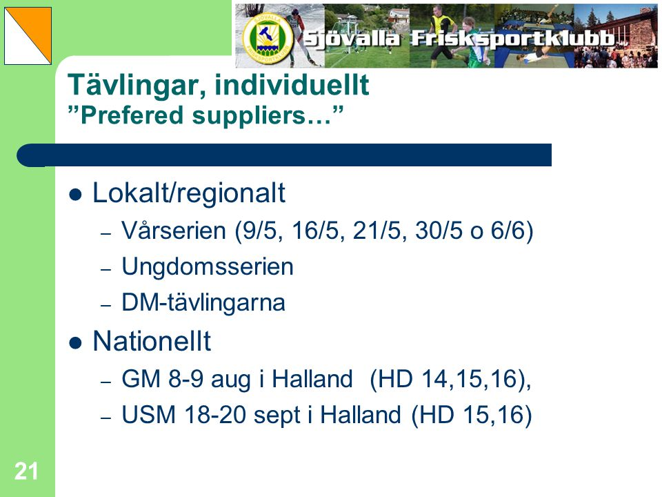Tävlingar, individuellt Prefered suppliers…