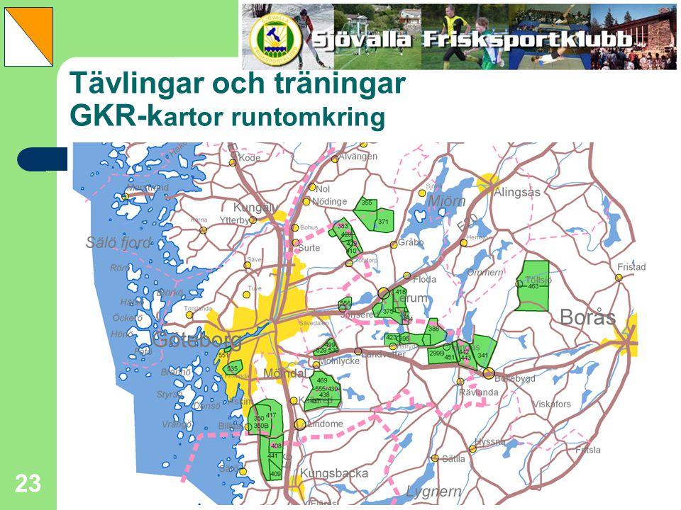 Tävlingar och träningar GKR-kartor runtomkring
