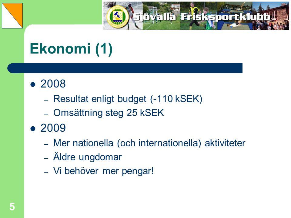 Ekonomi (1) 2008 2009 Resultat enligt budget (-110 kSEK)