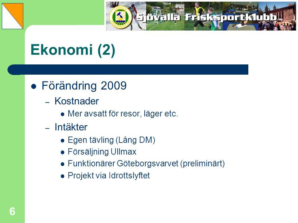 Ekonomi (2) Förändring 2009 Kostnader Intäkter