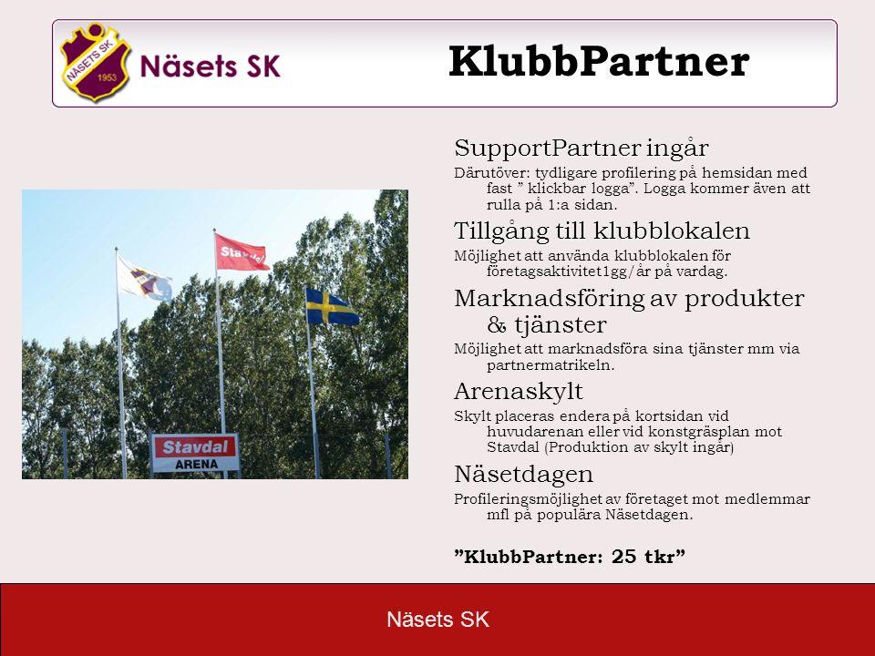 KlubbPartner SupportPartner ingår Tillgång till klubblokalen