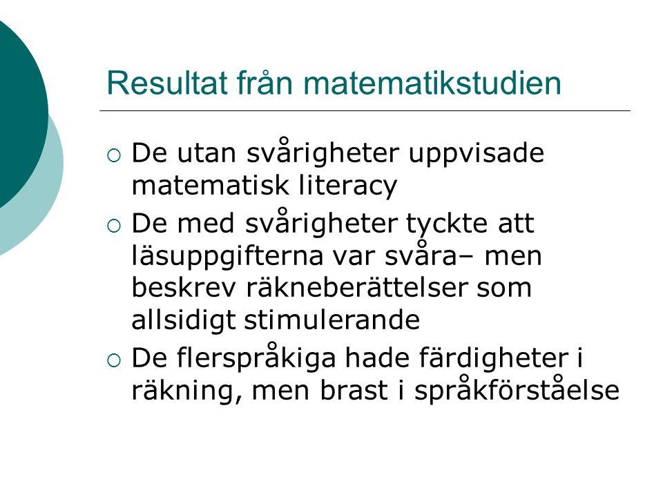 Resultat från matematikstudien