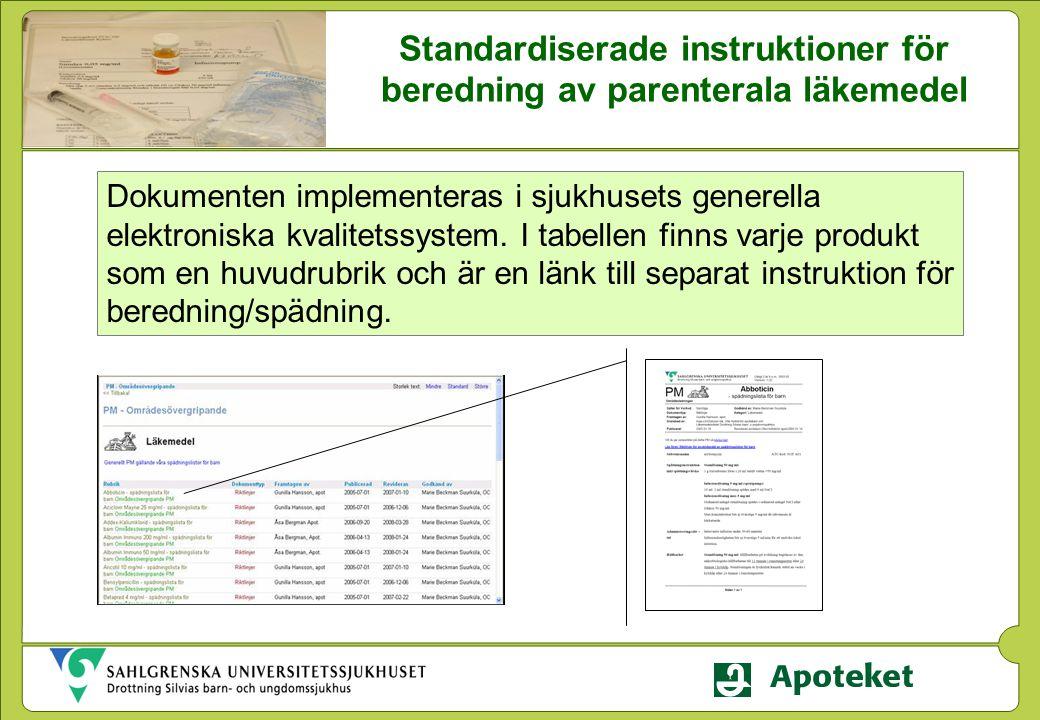 Standardiserade instruktioner för beredning av parenterala läkemedel