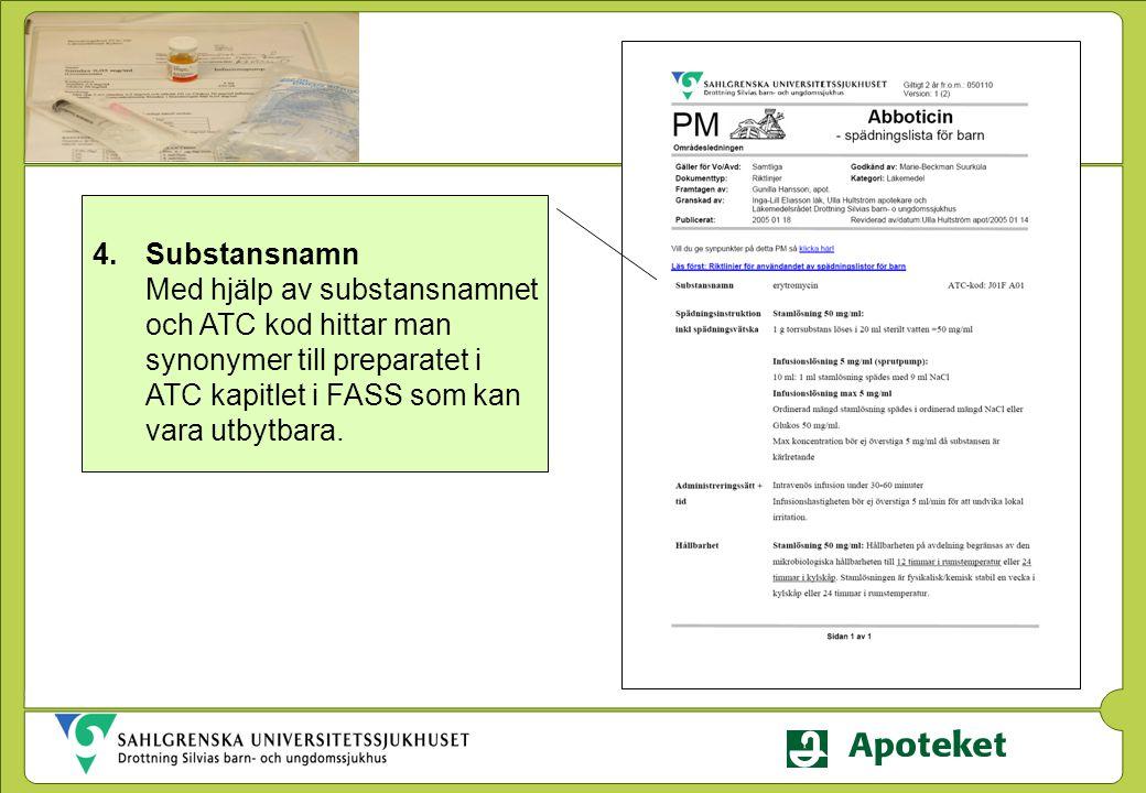 Substansnamn Med hjälp av substansnamnet och ATC kod hittar man synonymer till preparatet i ATC kapitlet i FASS som kan vara utbytbara.