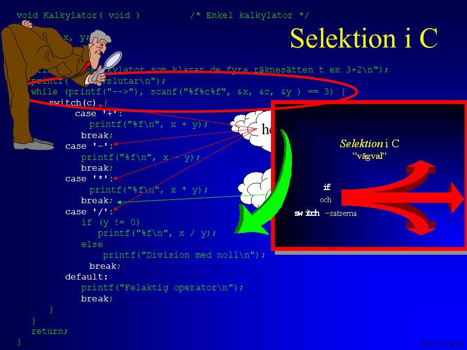 Selektion i C heltalstyp