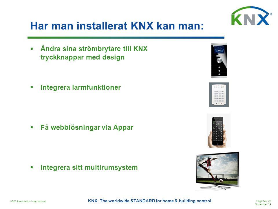Har man installerat KNX kan man: