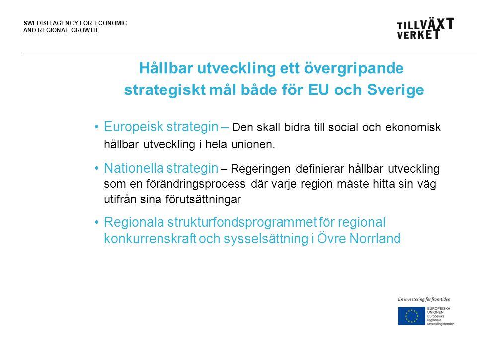 Hållbar utveckling ett övergripande strategiskt mål både för EU och Sverige