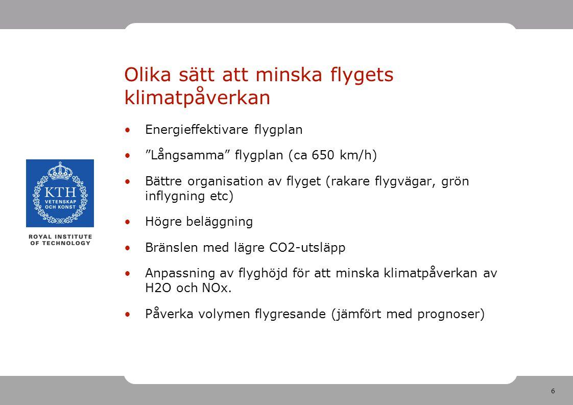 Olika sätt att minska flygets klimatpåverkan