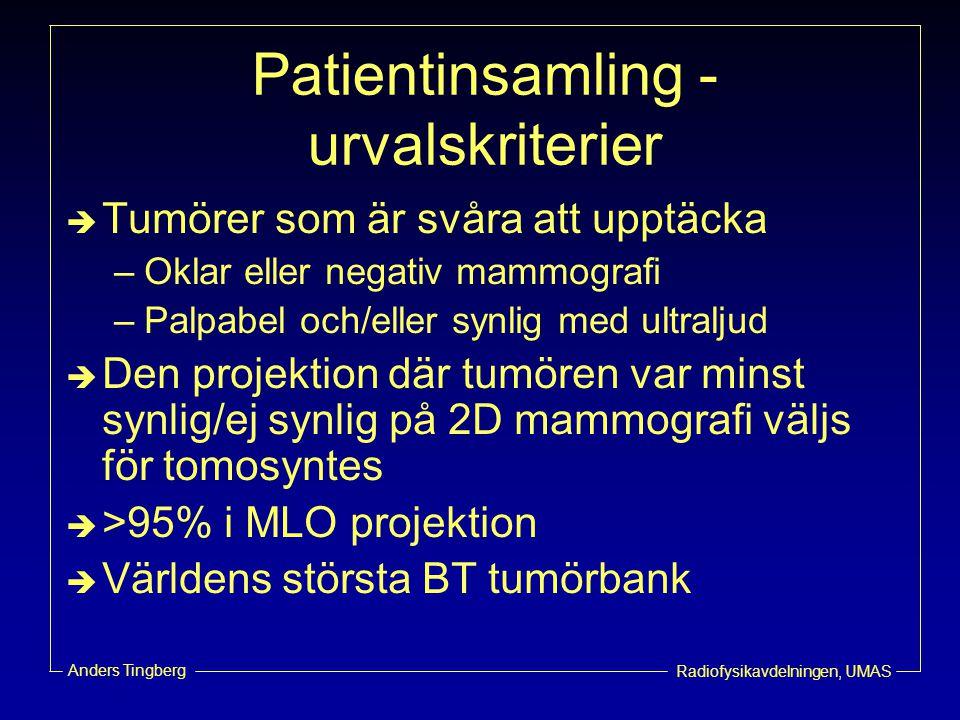 Patientinsamling - urvalskriterier