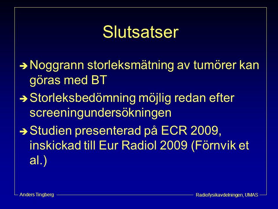 Slutsatser Noggrann storleksmätning av tumörer kan göras med BT