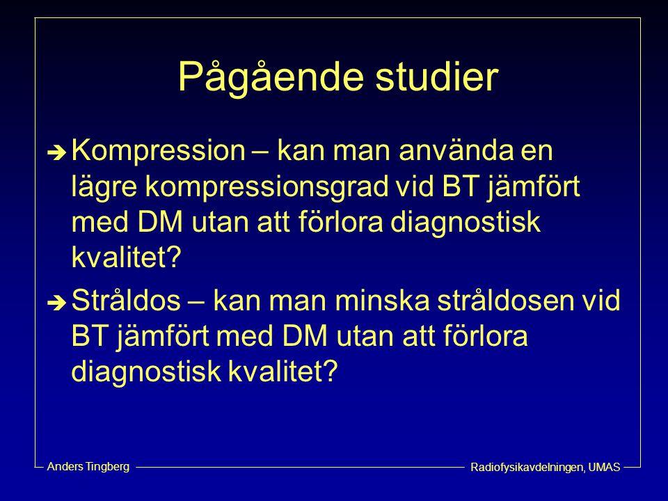 Pågående studier Kompression – kan man använda en lägre kompressionsgrad vid BT jämfört med DM utan att förlora diagnostisk kvalitet