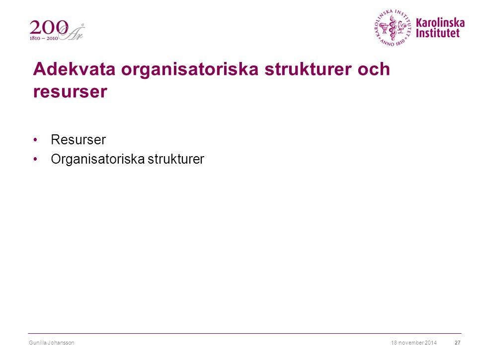 Adekvata organisatoriska strukturer och resurser