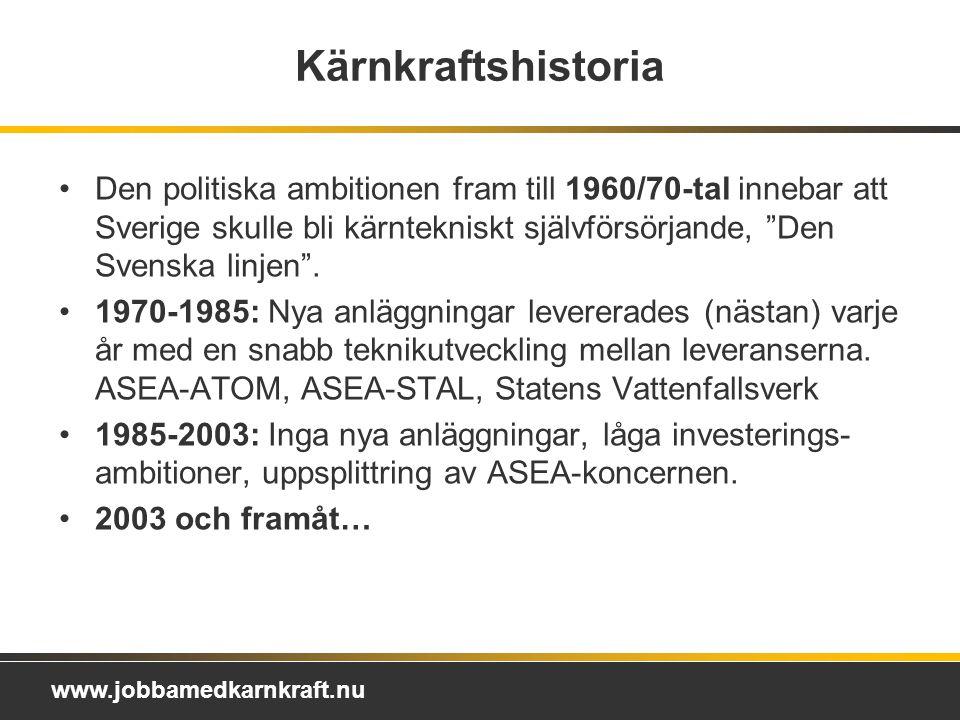 Kärnkraftshistoria Den politiska ambitionen fram till 1960/70-tal innebar att Sverige skulle bli kärntekniskt självförsörjande, Den Svenska linjen .