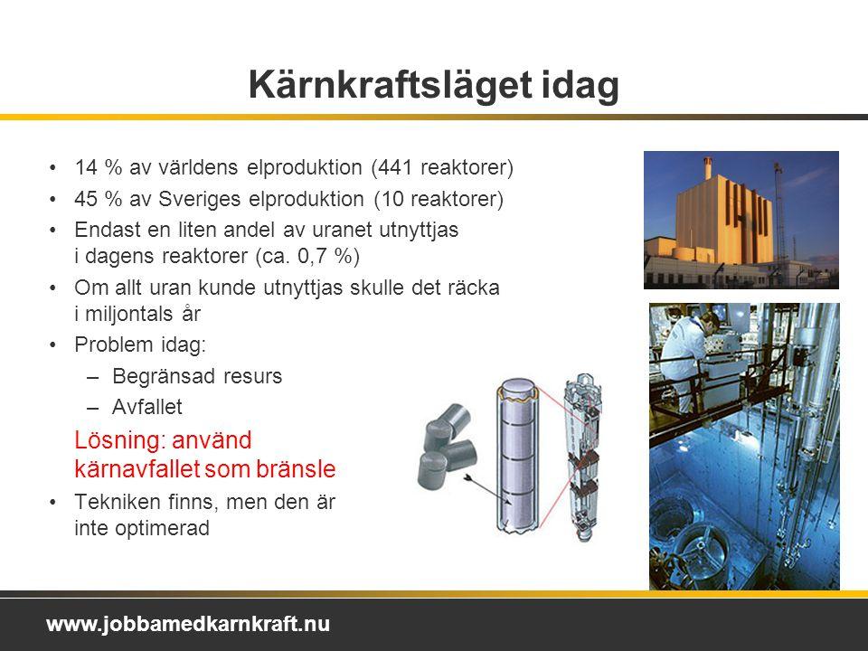 Kärnkraftsläget idag 14 % av världens elproduktion (441 reaktorer)