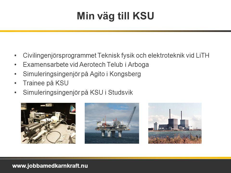 Min väg till KSU Civilingenjörsprogrammet Teknisk fysik och elektroteknik vid LiTH. Examensarbete vid Aerotech Telub i Arboga.