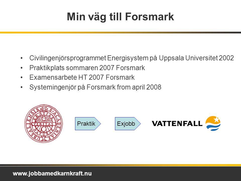 Min väg till Forsmark Civilingenjörsprogrammet Energisystem på Uppsala Universitet 2002. Praktikplats sommaren 2007 Forsmark.